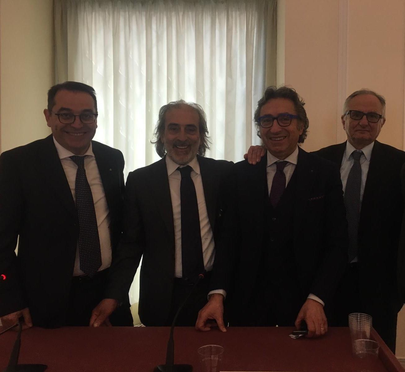 Da sinistra: Pasquale Russo, Domenico Porcaro, Valentino Di Pisa, Giuseppe Ceparano